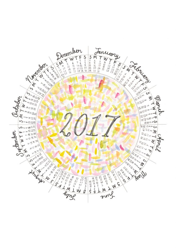 2017 circular calendar with abstract watercolour illustration.